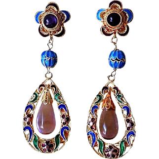 Art Deco Vintage Chinese Amethyst Filigree Gold Vermeil Earrings Pierced Ears