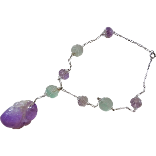 Art Deco 1920's Chinese Carved Shou Amethyst Sterling Necklace