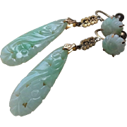 1920's Chinese Art Deco Hand Carved Translucent Apple Green Jadeite Earrings