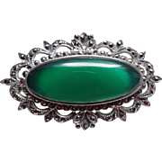 Art Deco Chrysoprase Oval Brooch Marcasites Sterling Silver