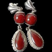 Art Deco 1920's Carnelian 800 Silver Filigree Dangle Earrings
