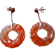 Art Deco Chinese Hand Carved Pierced Carnelian Filigree Gold Vermeil Earrings