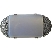 Art Deco 1920s' Vintage Chalcedony Marcasite Brooch Sterling Silver