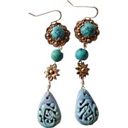 Rare Long Chinese Art Deco Hand Carved Turquoise Gold Vermeil Earrings