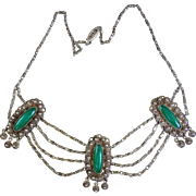 Art Deco Sterling Silver Green Glass Festoon Necklace