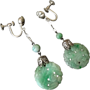 Art Deco 1920's Chinese Export Apple Green Jadeite Filigree Sterling Silver Earrings