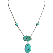 Vintage Chinese 1920's Art Deco Apple Green Jadeite Gold Gilt Necklace