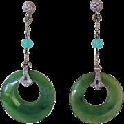 Art Deco 1920's Chinese Green Jade Earrings