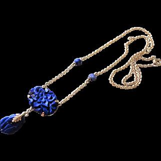 1920's Chinese Export Art Deco 14k Carved Lapis Lazuli Necklace Pendant