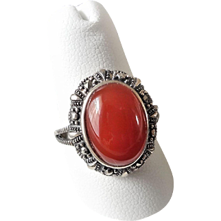 Vintage 1970's Art Deco Carnelian Marcasite Sterling Silver Ring Size 7.5