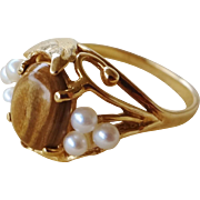 Art Nouveau 14k Tiger's Eye Cabochon Seed Pearls Ring