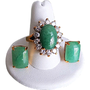 Vintage Chinese Apple Green Aventurine Cubic Zirconia Ring Size 8