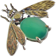 Vintage 1900's Chrysoprase Sterling Silver Bee Bug Brooch Pin