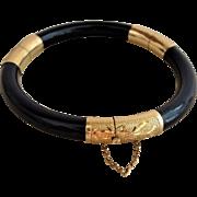 Vintage Chinese 14k Black Bamboo Two Hinged Bracelet