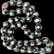 Vintage Chinese Export Black 12mm Cloisonne Necklace Gold Filigree Clasp