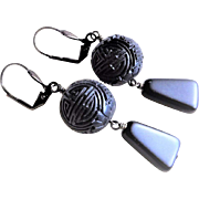 Vintage Chinese Export Art Deco Hand Carved Black Cinnabar Shou Design Earrings