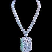 Vintage Chinese Translucent Blue Emerald Green Jadeite Pendant Necklace