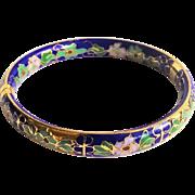 Vintage 1950's Chinese Export Blue Floral Cloisonne Enamel Gold Gilt Hinged Clasp Bracelet