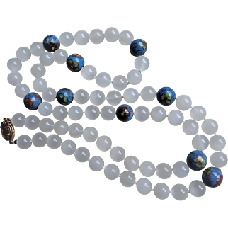 Vintage Chinese 1980's Translucent White Jade Blue Cloisonne Necklace  32.5 Inches