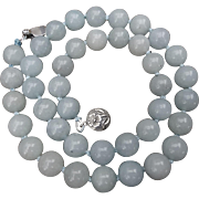 Pale Blue Jadeite 10mm Bead Necklace 18.5 Inch Length
