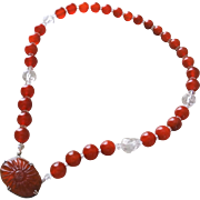 Chinese Export 1920's Art Deco Carved Carnelian Crystal Pendant Necklace Sterling Silver