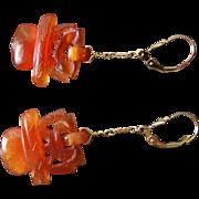 Vintage Chinese Hand Carved Carnelian Devil's Work Earrings