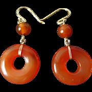 Vintage Chinese Carnelian Earrings Gold Vermeil