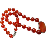 Art Deco Hand Carved Gold Carnelian Necklace 14k Clasp