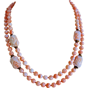 Vintage Angel Skin Coral 2 Strand Choker Necklace