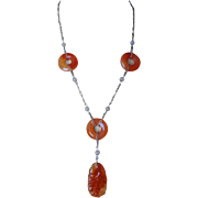 1920's Art Deco Chinese Carved Carnelian White Jade Sterling Necklace