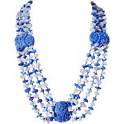 Stunning Carved Blue Lapis Lazuli Four Strand Necklace