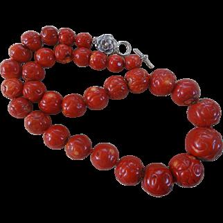 Vintage Hand Carved Massive 25-12mm Red Coral Necklace 264.8 grams