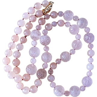 Vintage Hand Carved Roses Rose Quartz Necklace Gold Vermeil Clasp