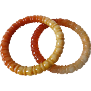Pair of Chinese Hand Carved Serpentine Bangles