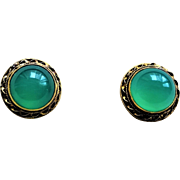 Chinese Export 1920's Art Deco Chrysoprase Gold Vermeil Filigree Earrings Clip On Style