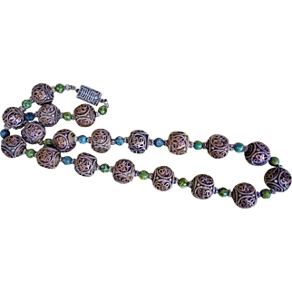 Vintage 1900's Chinese Export Filigree Brass Green Hardstone Coin Silver Bead Necklace