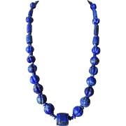 Vintage Chinese Hand Carved Lapis Lazuli Necklace