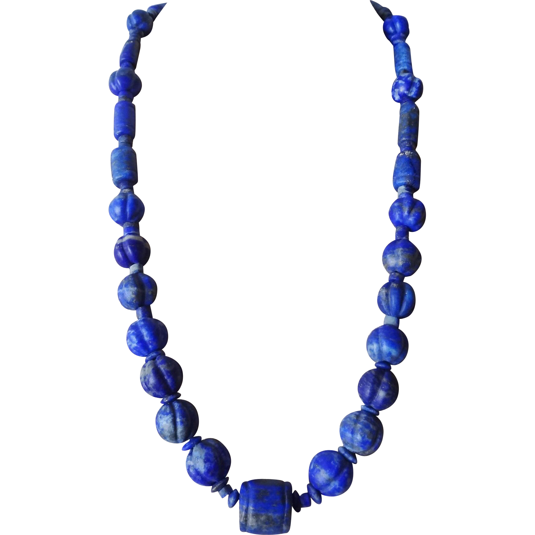 vintage chinese hand carved lapis lazuli necklace fine