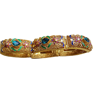 Antique Chinese Export Blue Green Chrysoberyl Enamel Gold Vermeil Mesh Filigree Bracelet