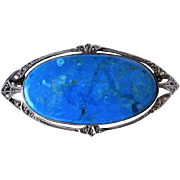 Antique 1890-1930 Victorian Chrysocolla Marcasite Silver Brooch