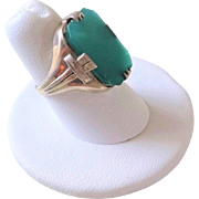 Vintage 1920's Art Deco Chrysoprase Sterling Silver Ring Size 6.5