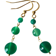 Translucent Emerald Green Chrysoprase Gold Vermeil Earrings