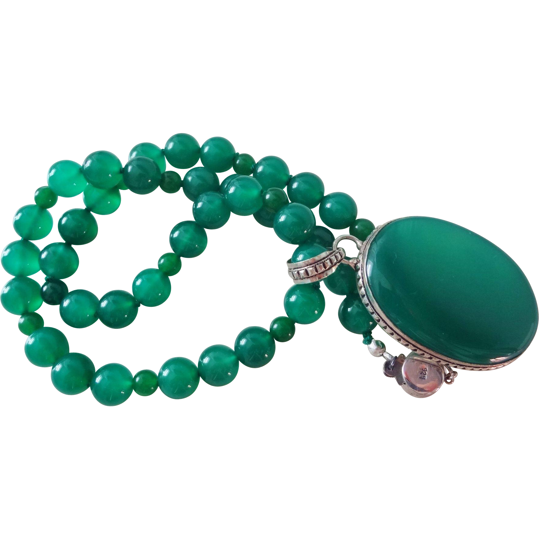 emerald lane green ruby finds necklace chrysoprase fine item vintage