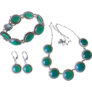 Chinese Art Deco 1920's Translucent Chrysoprase Necklace Bracelet Earrings Set Sterling Silver