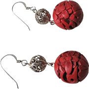 Vintage Chinese Red Cinnabar Sterling Silver Filigree Earrings