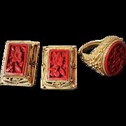 Vintage Art Deco Chinese Export Cinnabar Gold Vermeil Filigree Earrings & Ring Set