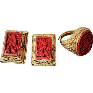 Vintage Art Deco Chinese Export Cinnabar Gold Vermeil Filigree Earrings & Ring Set