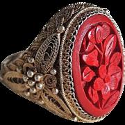 Vintage Chinese Carved Cinnabar Filigree Gold Vermeil Ring