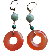 Vintage Chinese Green Jade Carnelian Malachite Earrings