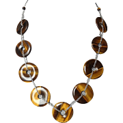 Vintage Chinese Circle of Life Tiger's Eye Sterling Necklace
